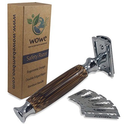 Double Edge Safety Razor with Long Natural Bamboo Handle by WowE