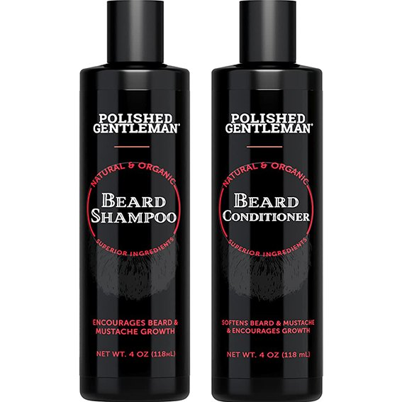 Polished Gentleman Beard Growth and Thickening Shampoo and Conditioner with Organic Beard Oil